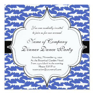 """School of Sharks Funny Blue and White 5.25"""" Square Invitation Card"""