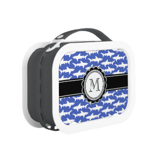 School of Sharks Funny Blue and White Lunchboxes
