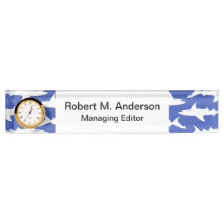 School of Sharks Funny Blue and White Name Plate