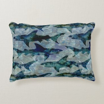 Beach Themed School of Sharks in Watery Blue Decorative Pillow