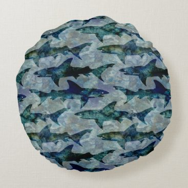 Beach Themed School of Sharks in Watery Blue Round Pillow