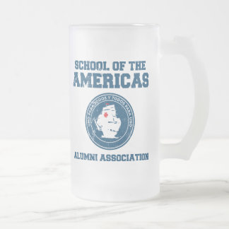 school of the americas alumni frosted glass beer mug