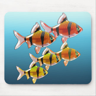 School of Tiger Barb Fish Mouse Pad