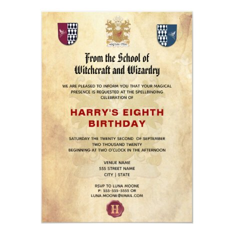 School of Witches and Wizards Birthday Party Invitation