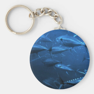 School of Yellowfin Tuna Basic Round Button Keychain
