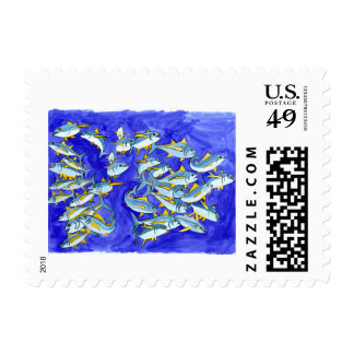 School of Yellowfin Tuna Postage