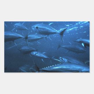 School of Yellowfin Tuna Rectangular Sticker