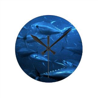 School of Yellowfin Tuna Round Clock