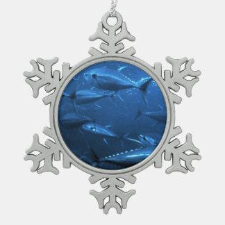 School of Yellowfin Tuna Snowflake Pewter Christmas Ornament