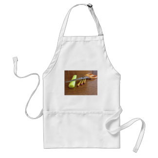 School office supplies on wooden table adult apron