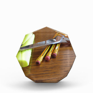 School office supplies on wooden table award