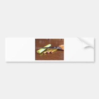 School office supplies on wooden table bumper sticker