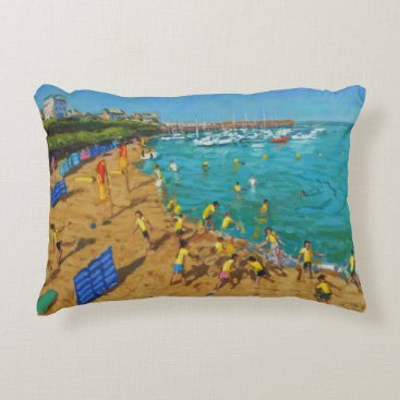 Beach Themed School outing New Quay Wales 2013 Accent Pillow