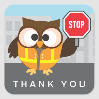School Owl Crossing Guard Thank You Square Sticker