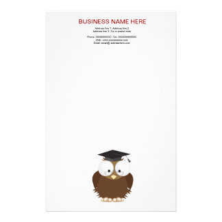 School owl with mortar board stationery