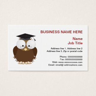 School owl with mortar board stationery business card