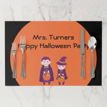 Beach Themed School Party - Happy Halloween Trick or Treaters Placemat