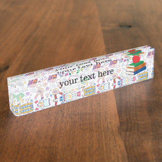 School pattern desk name plate