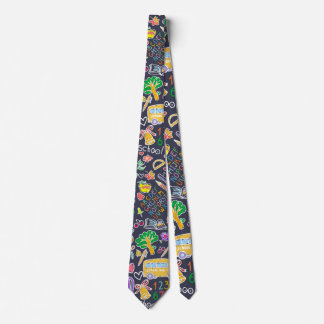School pattern neck tie