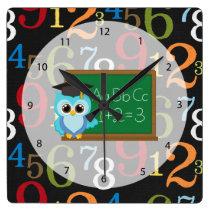 School pattern square wall clock