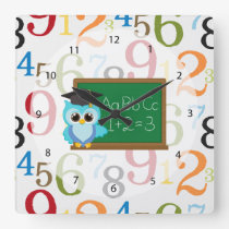 School pattern square wall clock