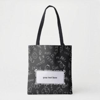 School pattern tote bag
