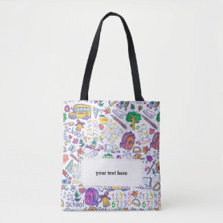 School pattern tote bag