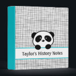 """School Personalized Aqua Black Panda Bear Binder<br><div class=""""desc"""">This back to school Avery binder has an aqua blue,  black and white panda design and the name,  subject or text of your choice.</div>"""