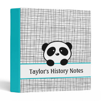 School Personalized Aqua Black Panda Bear Binder
