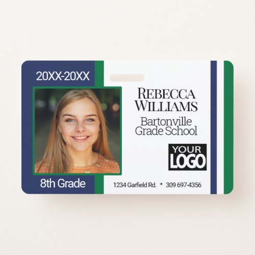 School Photo Badge _ Blue and Green