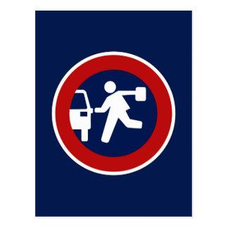 School Pick-Up Point, Traffic Sign, Argentina Postcard