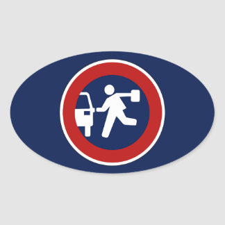 School Pick-Up Point, Traffic Sign, Argentina Oval Sticker