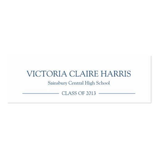 school pride graduation insert name card navy blue double sided mini business cards pack of 20. Black Bedroom Furniture Sets. Home Design Ideas