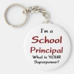 School principal basic round button keychain