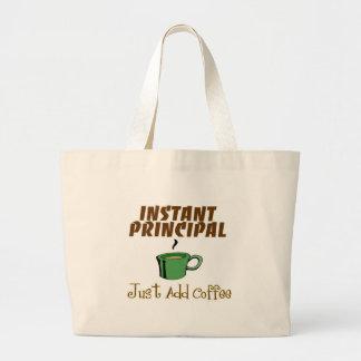 "School Principal Gifts ""Just Add Coffee"" Large Tote Bag"