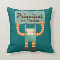 School Principal Retro Robot Personalized Gift Throw Pillow