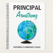 School Principal Watercolor Globe Personalized Planner