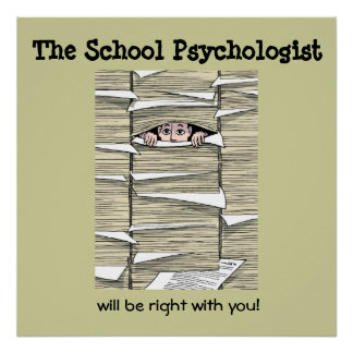 School Psychologist Buried in Paperwork (Print) Poster