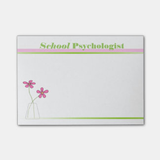 School Psychologist Pink and Green Sticky Notes