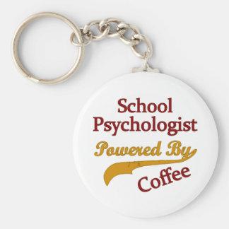 School Psychologist Powered By coffee Basic Round Button Keychain