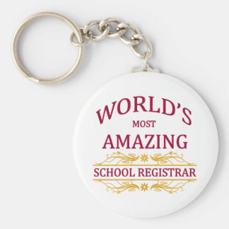School Registrar Basic Round Button Keychain