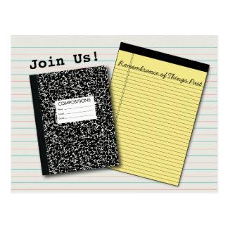 School Reunion Comp Book, Legal Pad, & Lined Paper Postcard