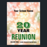"""School Reunion party lights Flyer<br><div class=""""desc"""">Fully customizable school reunion flyer with festive celebration party lights photo background and editable text. Change school name,  year,  and contact info,  change or add any other text or images you like. Change text color to your school colors if desired.</div>"""