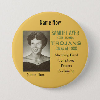 School Reunion Then and Now Photo Badge Pinback Button