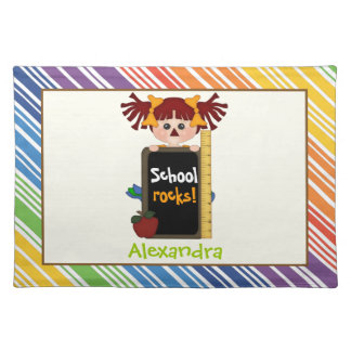 School rocks! Girl with chalkboard Back to school Placemat
