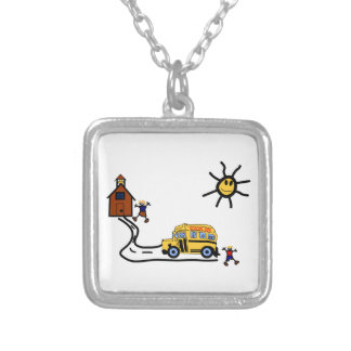 School Scene Silver Plated Necklace
