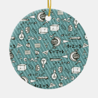 School Scribbles and Blue Stripes Ceramic Ornament