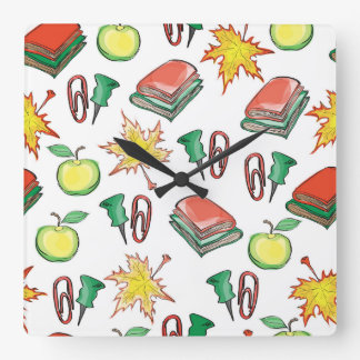 school seamless pattern with autumn leaves, apples square wall clock