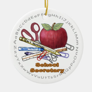 School Secretary ceramic round ornament
