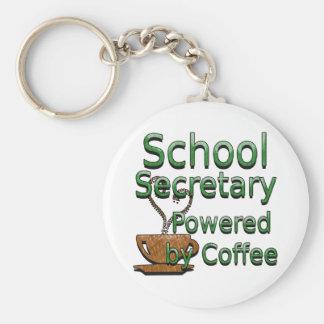 School Secretary Powered by Coffee Basic Round Button Keychain